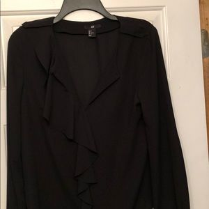 H&M Black Blouse with button